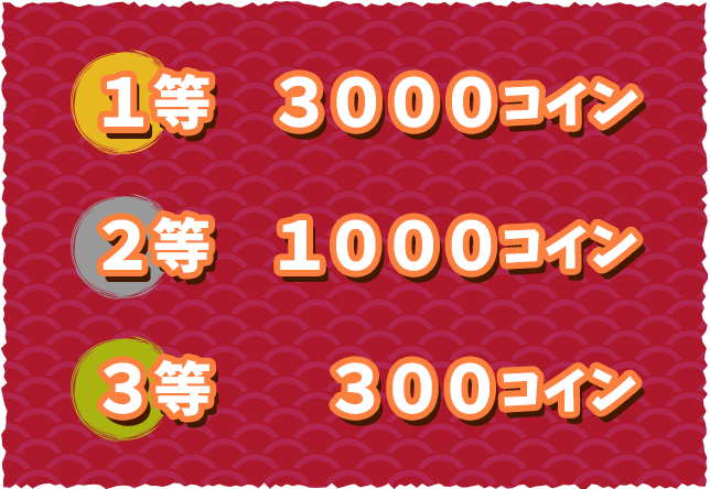 1等3000コイン 2等1000コイン 3等300コイン